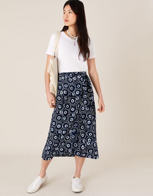 ARTISAN STUDIO Batik Print Wrap Skirt, Blue (NAVY), large