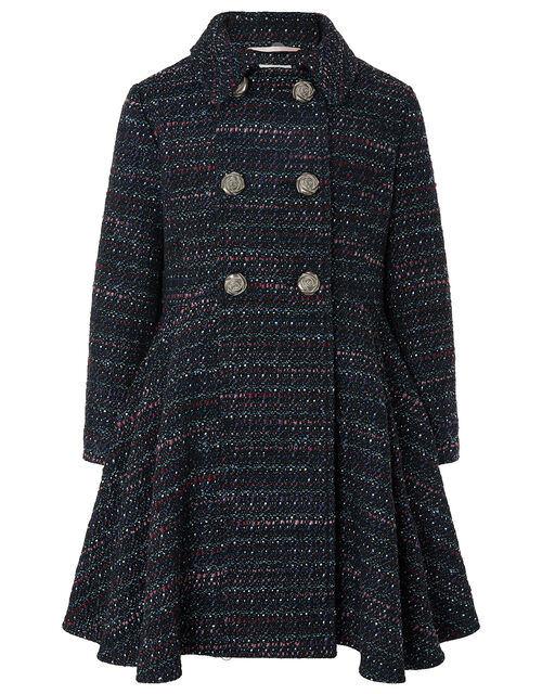 Tweed Skirted Coat, Blue (NAVY), large