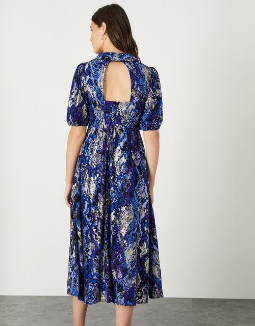 Nagini Snake Print Midi Dress, Blue (BLUE), large