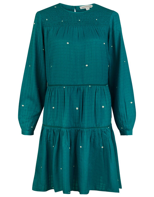 Embroidered Dot Tiered Dress, Teal (TEAL), large