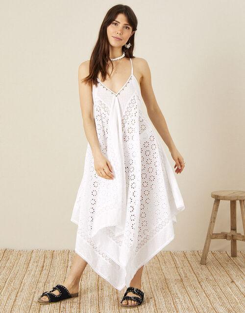 Miquel Broderie Hanky Hem Dress, White (WHITE), large
