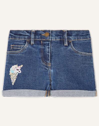 Unicorn Denim Shorts  Blue, Blue (BLUE), large