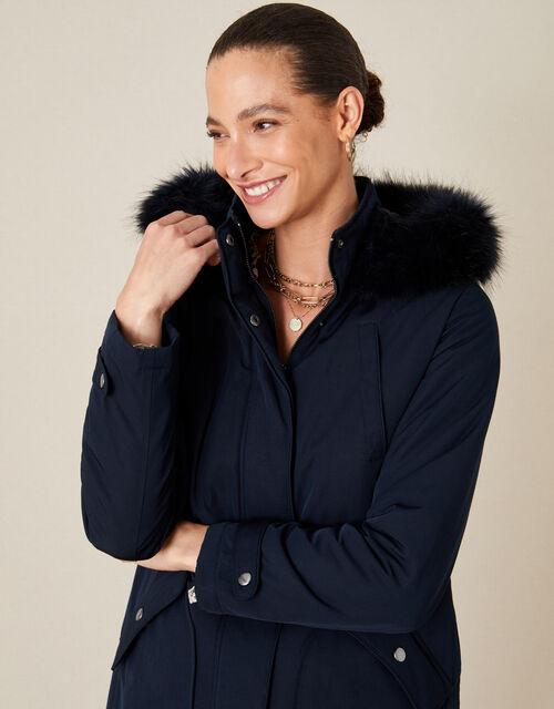 Muriel Fluffy Hood Parka Coat, Blue (NAVY), large