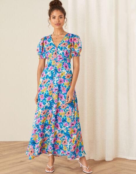 Shirrin Floral Tea Dress Blue, Blue (COBALT), large