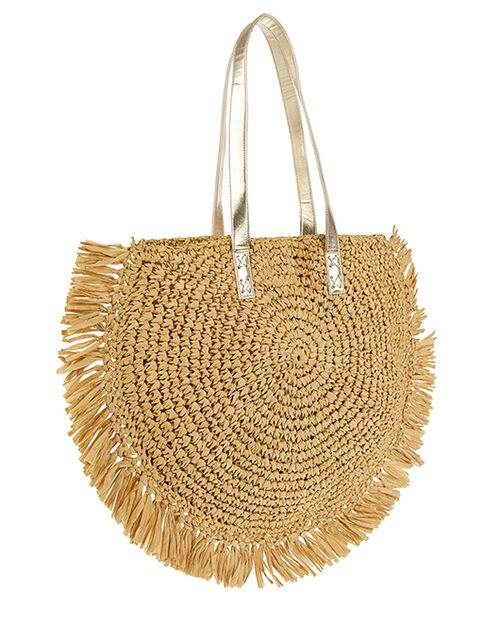 Rey Raffia Fringed Bag, , large