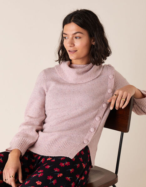 High Neck Button Side Jumper Pink, Pink (PINK), large
