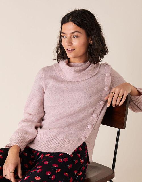 High Neck Button Side Jumper, Pink (PINK), large