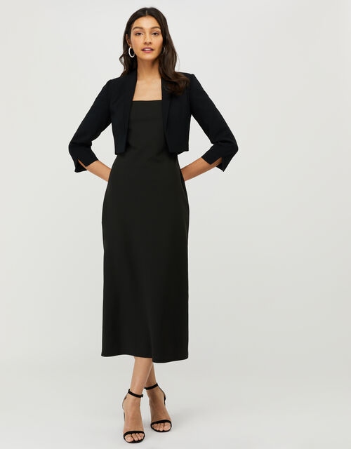 Juni Sustainable Cropped Smart Jacket, Black (BLACK), large