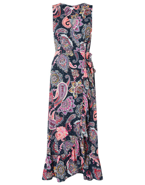 Paisley Maxi Dress in LENZING™ ECOVERO™, Blue (NAVY), large