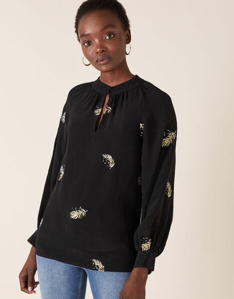Peacock Embellished Blouse Black, Black (BLACK), large