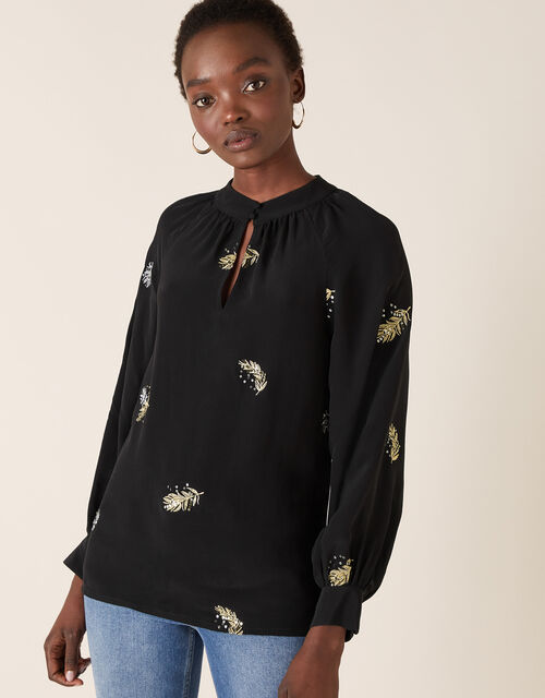 Peacock Embellished Blouse, Black (BLACK), large