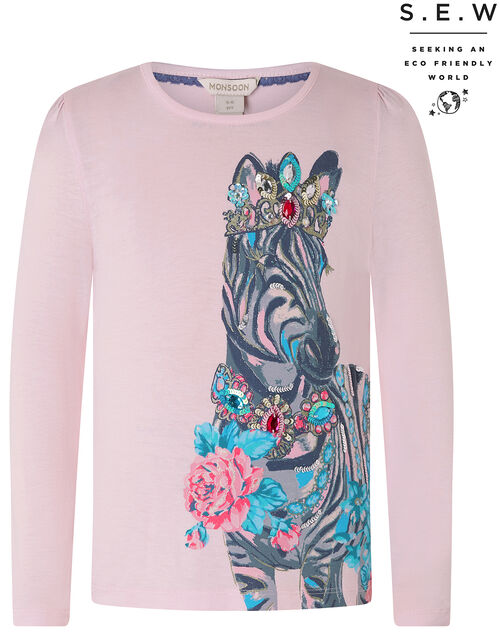 Sparkly Zebra T-shirt with LENZING™ ECOVERO™, Pink (PINK), large