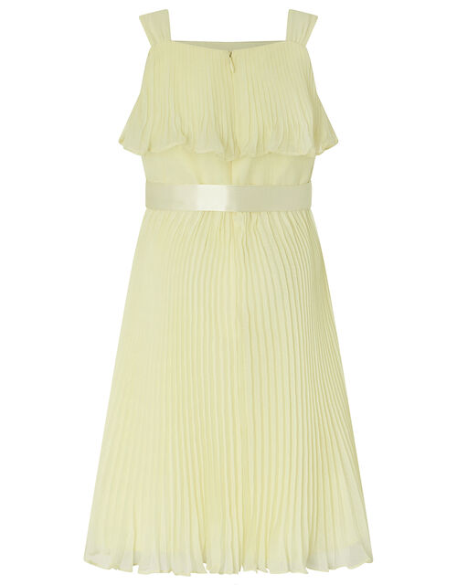 Italia Pleated Dress in Recycled Polyester, Yellow (LEMON), large