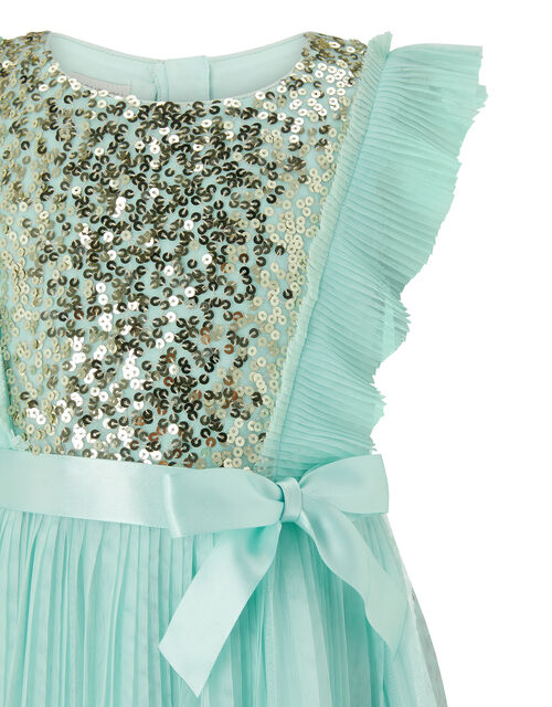 Gabriella Sequin Pleated Dress in Recycled Polyester, Green (MINT), large