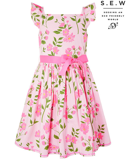 Mavis Floral Dress in Organic Cotton, Pink (PALE PINK), large