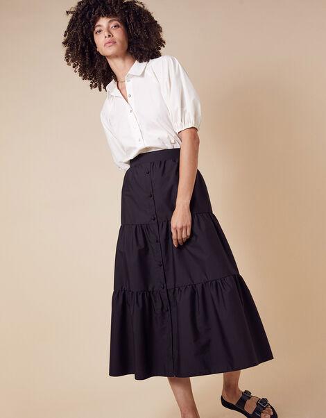 Poplin Tiered Midi Skirt Black, Black (BLACK), large