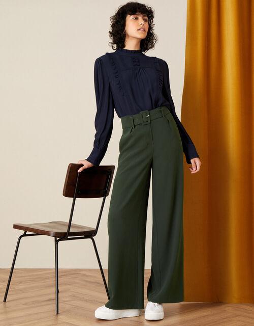 Whitney High Waisted Wide Leg Trousers, Green (KHAKI), large