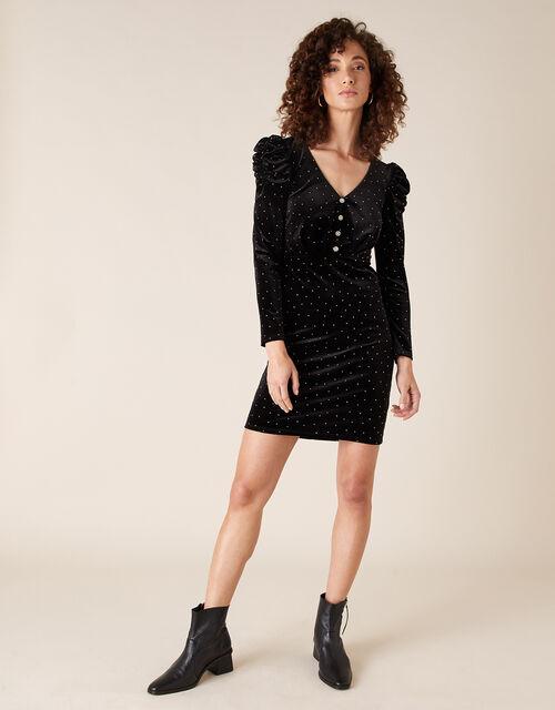 Khloe Heat-Seal Gem Stretch Velvet Dress, Black (BLACK), large