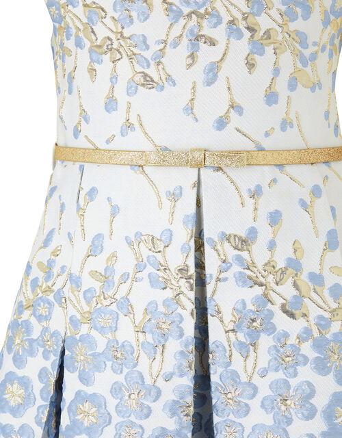 Petal Jacquard Occasion Dress with Glitter Belt, Blue (BLUE), large