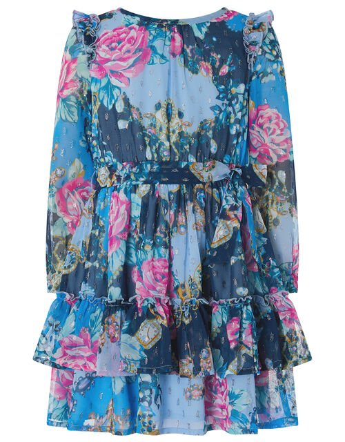 Ava Floral Sparkle Dress, Blue (BLUE), large