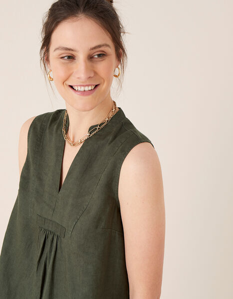 Jasmine Tank Top in Pure Linen Green, Green (KHAKI), large