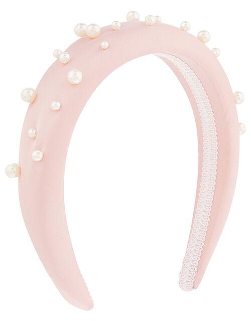 Satin and Pearl Padded Headband, , large