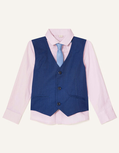 Jake Waistcoat, Shirt and Tie Set Blue, Blue (BLUE), large