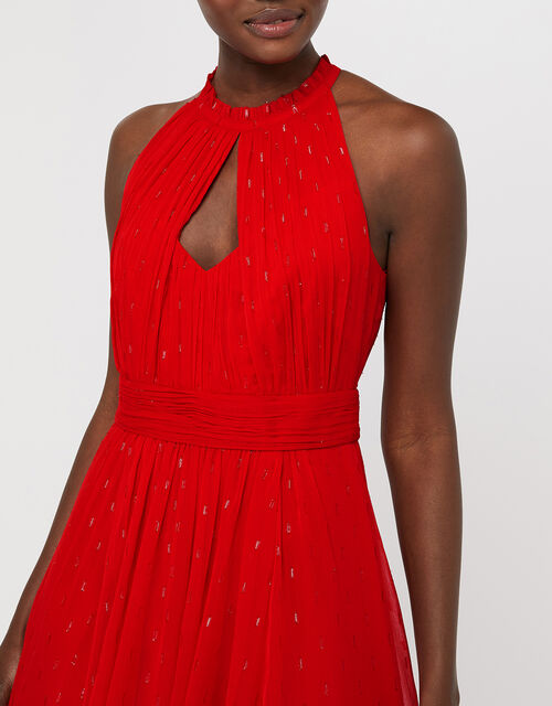 Brie Shimmer Dobby Maxi Dress, Red, large