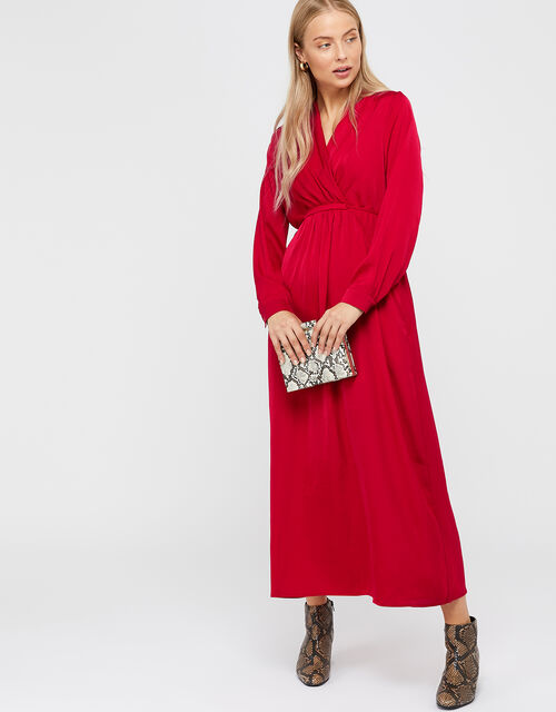 Felicity Satin Midi Dress, Red, large