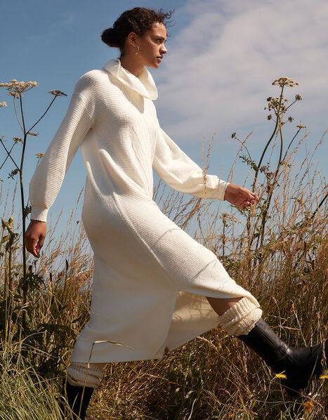 Longline Cable Knit Dress Cream, Cream (CREAM), large