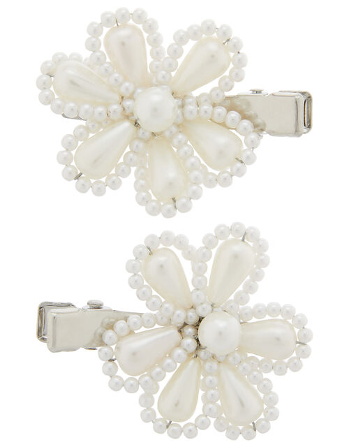 Sophie Pearl Flower Hair Clips, , large