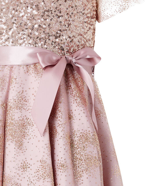 Abilene Sequin Sparkle Party Dress, Pink (DUSKY PINK), large
