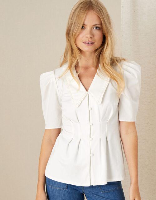 Frill Collar Shirt, Ivory (IVORY), large