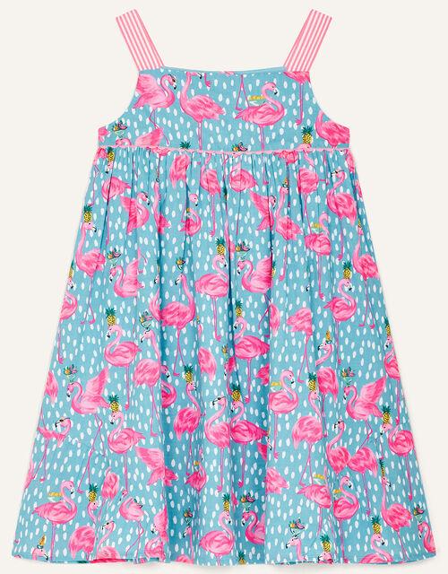 Flamingo Print Summer Dress , Blue (BLUE), large