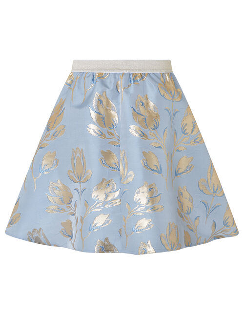 Tulip Jacquard High-Low Skirt, Blue (BLUE), large