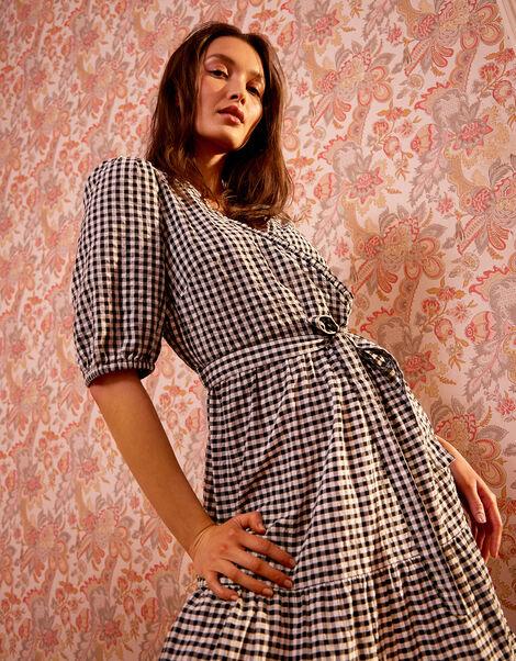 Gingham Wrap Dress in Organic Cotton Black, Black (BLACK), large