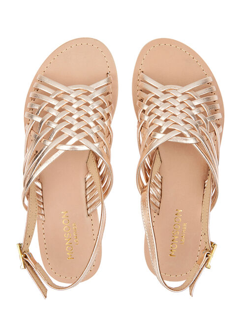 Metallic Weave Leather Sandals, Gold (GOLD), large