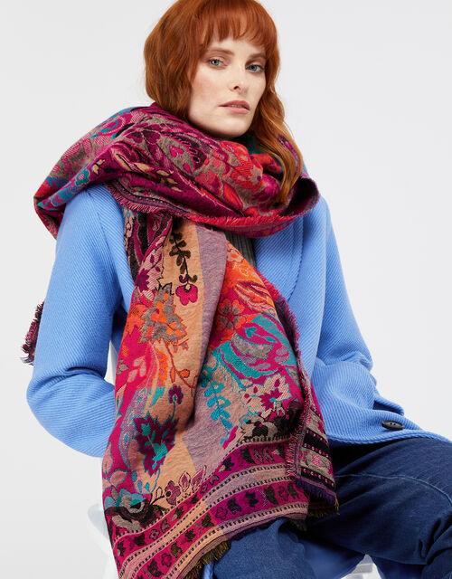 Flic Floral Jacquard Blanket  Scarf, , large