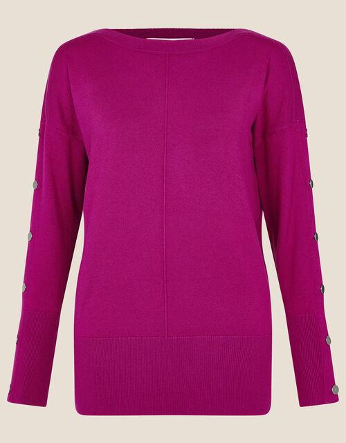 Studded Slash Neck Jumper, Pink (MAGENTA), large