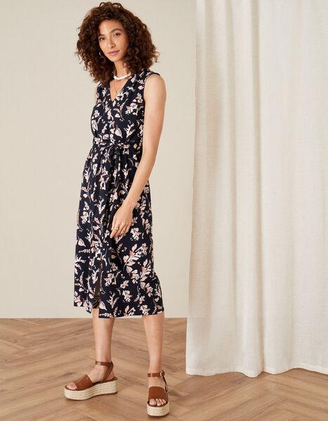 Lydia Printed Jersey Wrap Dress Blue, Blue (NAVY), large