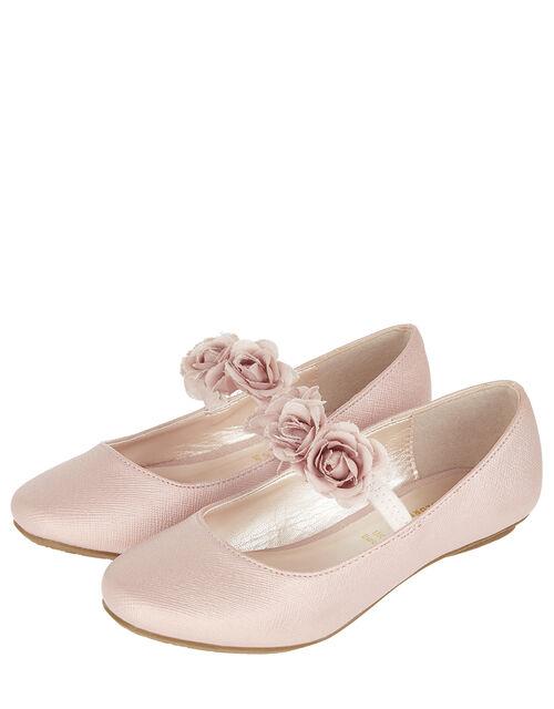 Dora Corsage Strap Ballet Flats, Pink (PALE PINK), large