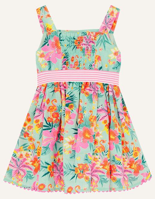 Baby Tropical Flamingo Dress, Blue (AQUA), large