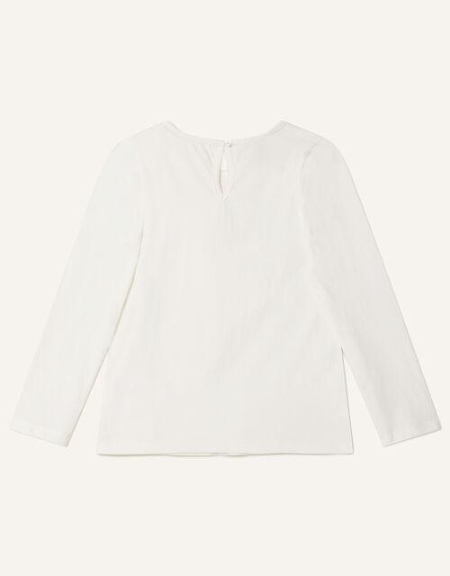 Gem Neckline Long Sleeve Top, Ivory (IVORY), large