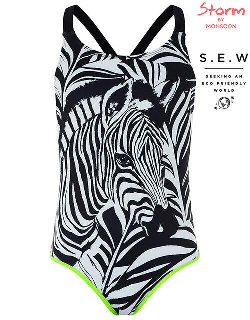 Zara Zebra Swimsuit, Black (BLACK), large