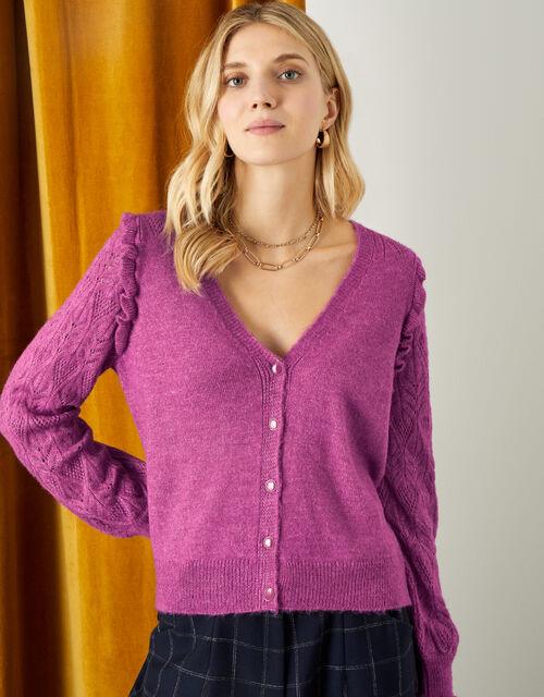 Elvira Pointelle Sleeve Cardigan , Purple (PURPLE), large