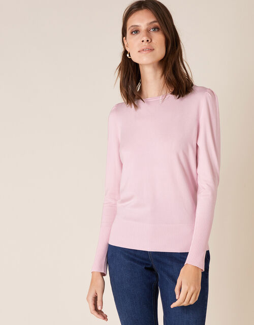 Puff Sleeve Knit Jumper, Pink (BLUSH), large