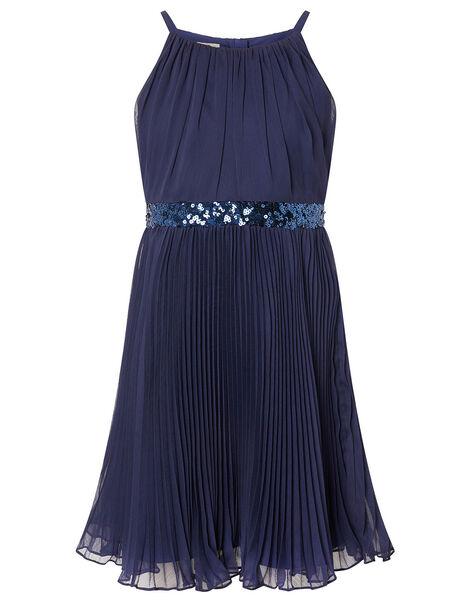 Sequin Waistband Chiffon Prom Dress Blue, Blue (NAVY), large