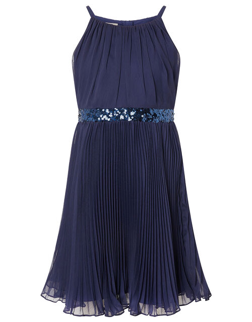 Sequin Waistband Chiffon Prom Dress, Blue (NAVY), large
