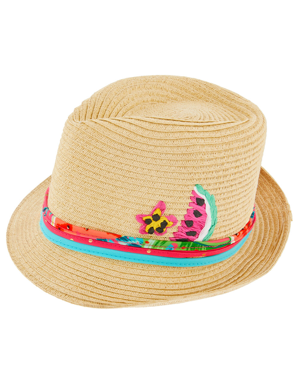 Lucy Watermelon Straw Hat with Removable Bando, Natural (NATURAL), large