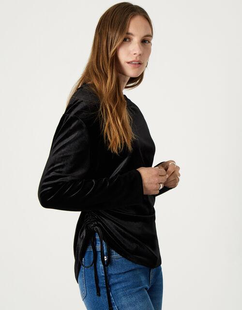 Velvet Jersey Long Sleeve Top, Black (BLACK), large
